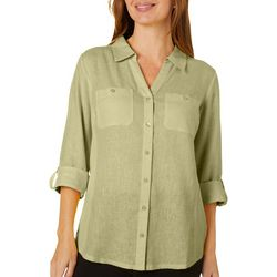 Coral Bay Womens Linen Knit To Fit Button Down Top
