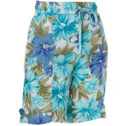 Coral Bay Womens Floral Print Linen Drawstring Shorts