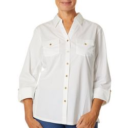 Coral Bay Womens Knit To Fit Solid Chest Pocket Top