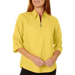 Coral Bay Womens Zip Placket Solid Woven Top