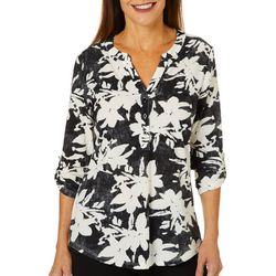 Coral Bay Womens Floral Print Roll Tab Pop Over Top