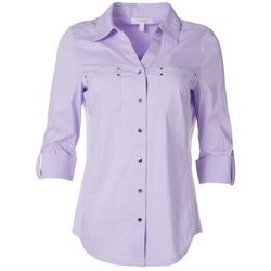 Womens Embellished Button Down Shirt