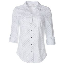 Womens Polka Dot Pocketed Button Down Top