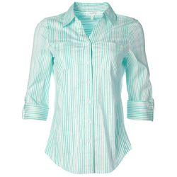 Coral Bay Womens Stripe Pocketed Button Down Top