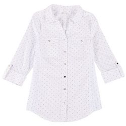 Coral Bay Womens Polka Dot Pocketed Button Down Top