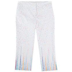 ATTYRE Womens Confetti Print Crop Pants