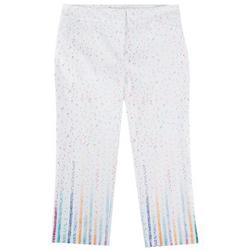 Womens Confetti Print Crop Pants