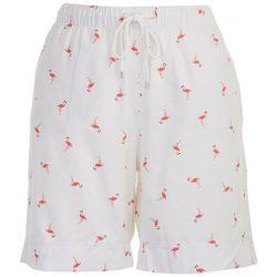 Coral Bay Womens Pull On Flamingo Bermuda Shorts