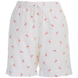 Womens Pull On Flamingo Bermuda Shorts