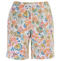 Coral Bay Womens Pull On Paisley Bermuda Shorts
