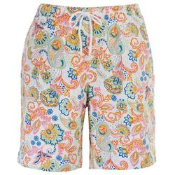 Womens Pull On Paisley Bermuda Shorts