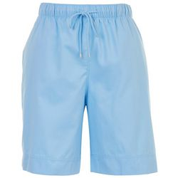 Coral Bay Womans Solid Print Drawstring Pull On Shorts