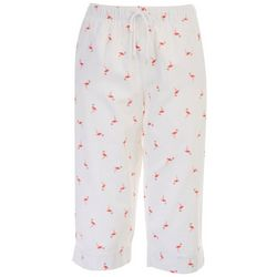 Coral Bay Womens Flamingos Everywhere Pull On Capris