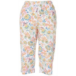 Coral Bay Womens Pull On Paisley Capris