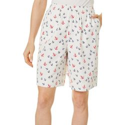 Coral Bay Womens Anchor Print Twill Drawstring Shorts