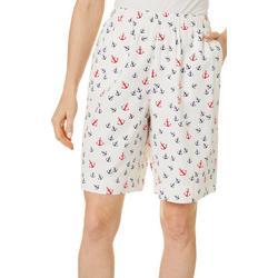 Womens Anchor Print Twill Drawstring Shorts