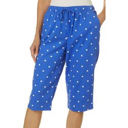 Coral Bay Womens Dot Print Drawstring Twill Capris