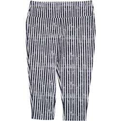 Khakis & Co Womens Suave Striped Capri Leggings