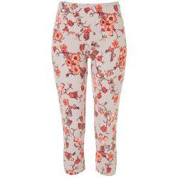 Khakis & Co Womens Suave Floral Stripe Capri Leggings