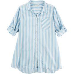 Khakis & Co Womens Striped Print Woven Tunic