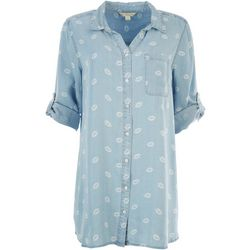 Khakis & Co Womens Lip Print Woven Tunic Button Down Top