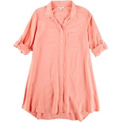 Khakis & Co Womens Solid Button Down Top
