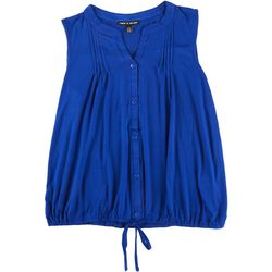 Cable & Gauge Womens Solid Tie Front Sleeveless Top