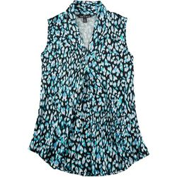 Cable & Gauge Womens Leopard Print Sleeveless Top
