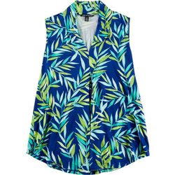 Cable & Gauge Womens Tropical Leaf Sleeveless Top