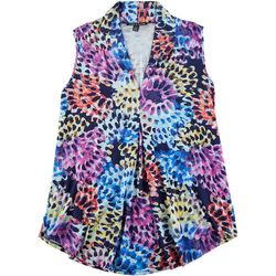 Cable & Gauge Womens Floral Burst Sleeveless Top