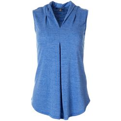 Cable & Gauge Womens Solid V-Neck Sleeveless Top