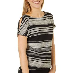 Cable & Gauge Womens Striped Cold Shoulder Top