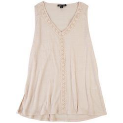 Cable & Gauge Womens Solid Tank With Lace Detail