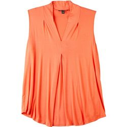 Cable & Gauge Womens Solid Color Sleeveless Top