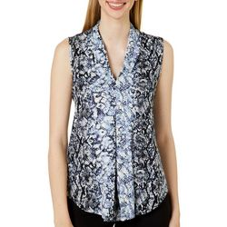 Cable & Gauge Womens Snakeskin Print Sleeveless Top