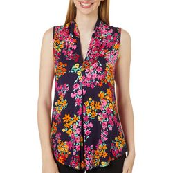 Cable & Gauge Womens Feminine Floral Print Sleeveless Top