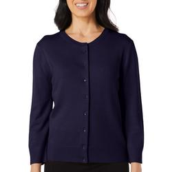 Womens Solid Button Down Cardigan