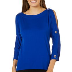 Cable & Gauge Womens Solid Grommet Embellished Top