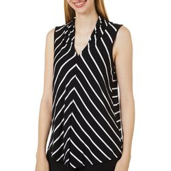 Cable & Gauge Womens Mitered Stripe Print Sleeveless Top