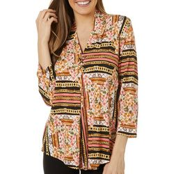 Cable & Gauge Womens Floral Chain Grommet Accent Pleated Top