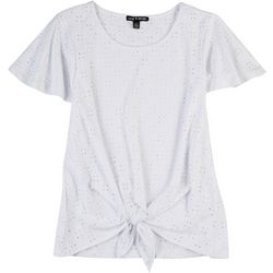 Cable & Gauge Womens Solid Eyelet Tie Front Top