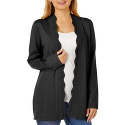 Cable & Gauge Womens Solid Scalloped Edge Cardigan