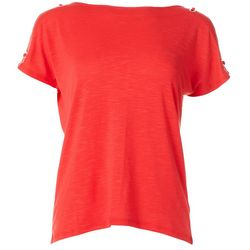 Cable & Gauge Womens Solid Poly Grommet Top