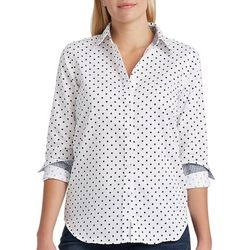 Chaps Womens Dotted Long Sleeve Button Down Blouse
