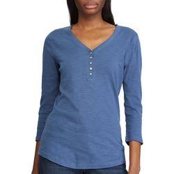 Chaps Womens 3/4 Sleeve Trina Top