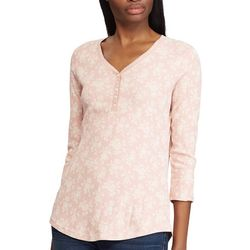 Chaps Womens 3/4 Sleeve Floral Trina Top