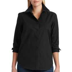 Chaps Womens Solid Long Sleeve Button Down Blouse