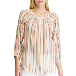 Chaps Womens 3/4 Sleeve Sims Stripe Top