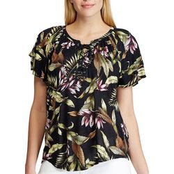 Chaps Womens Short Sleeve Floral Raquel Top