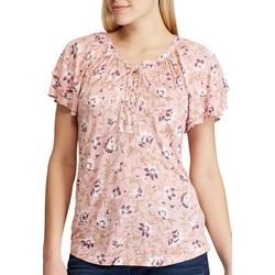 Chaps Womens Floral Raquel Short Sleeve Top